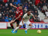 Bournemouth's Joshua King in action with Manchester United's Anthony Martial in the Premier League on November 2, 2019