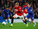 Manchester United's Brandon Williams in action with Chelsea's Billy Gilmour in the EFL Cup on October 30, 2019