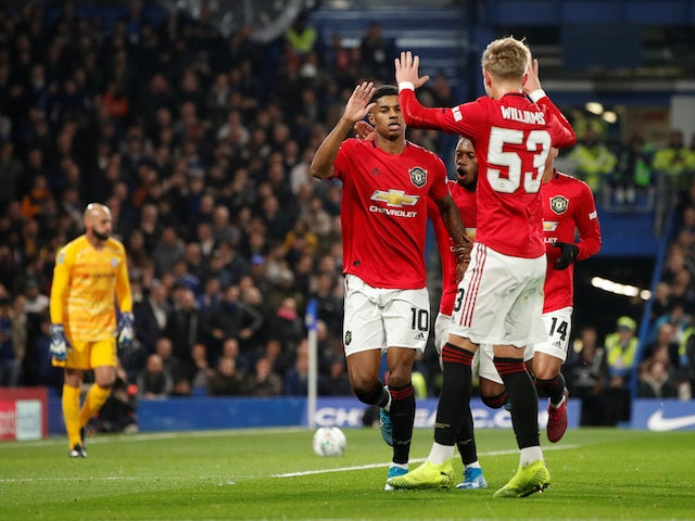Manchester United's Marcus Rashford celebrates scoring against Chelsea in the EFL Cup on October 30, 2019