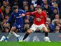 Chelsea's Christian Pulisic in action with Manchester United's Victor Lindelof in the EFL Cup on October 30, 2019