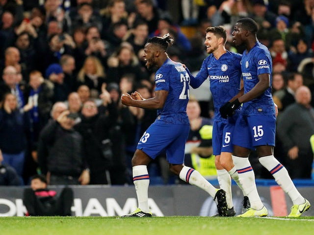 Chelsea's Michy Batshuayi celebrates scoring against Manchester United in the EFL Cup on October 30, 2019