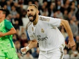Karim Benzema celebrates scoring for Real Madrid on October 30, 2019