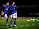 Leicester City's James Maddison celebrates scoring their third goal with team mates on October 29, 2019