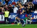 Levante's Nemanja Radoja celebrates scoring their third goal against Barcelona on November 2, 2019