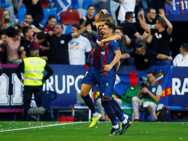 Levante's Nemanja Radoja celebrates scoring their third goal against Barcelona on November 2, 2019