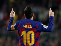 Barcelona's Lionel Messi celebrates scoring their fourth goal on October 29, 2019