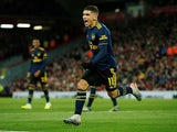 Arsenal's Lucas Torreira celebrates scoring their first goal against Liverpool on October 30, 2019
