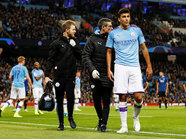 Manchester City's Rodri is substituted off after sustaining an injury on October 22, 2019