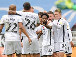 Swansea City's Nathan Dyer celebrates scoring their first goal with teammates