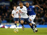Tottenham Hotspur's Lucas Moura in action with Everton's Fabian Delph on November 3, 2019