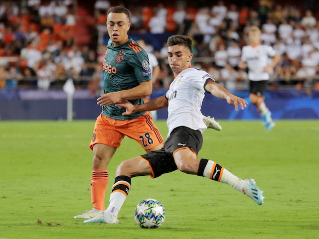 Valencia's Ferran Torres in action against Ajax in the Champions League on October 2, 2019