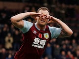 Burnley's Ashley Barnes celebrates scoring their first goal on November 9, 2019
