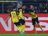 Dortmund's Julian Brandt celebrates scoring their second goal with team mates on November 5, 2019
