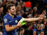 Chelsea's Cesar Azpilicueta reacts after his goal is disallowed following a referral to VAR on November 5, 2019