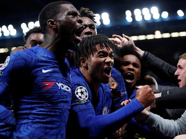 Chelsea's Reece James celebrates scoring their fourth goal with Fikayo Tomori, Willian and teammates on November 5, 2019