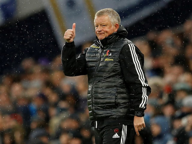 Sheffield United manager Chris Wilder gestures on November 9, 2019