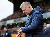 Aston Villa manager Dean Smith watches his side beaten by Wolves on November 10, 2019