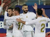 Karim Benzema celebrates scoring for Real Madrid on November 9, 2019