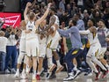 Utah Jazz players react to a game winning shot at the buzzer by Utah Jazz forward Bojan Bogdanovic (44) to defeat the Milwaukee Bucks 103-100 at Vivint Smart Home Arena on November 9, 2019
