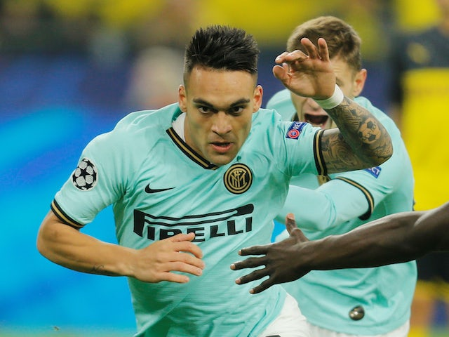 Inter Milan's Lautaro Martinez celebrates scoring their first goal against Borussia Dortmund on November 5, 2019