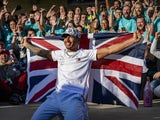 Lewis Hamilton (44) of Great Britain celebrates winning his sixth world championship after the United States Grand Prix at Circuit of the Americas on November 3, 2019