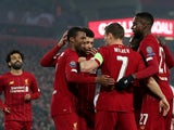 Liverpool midfielder Georginio Wijnaldum celebrates scoring his side's first goal against Genk on November 5, 2019