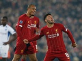 Liverpool's Alex Oxlade-Chamberlain celebrates scoring their second goal on November 5, 2019