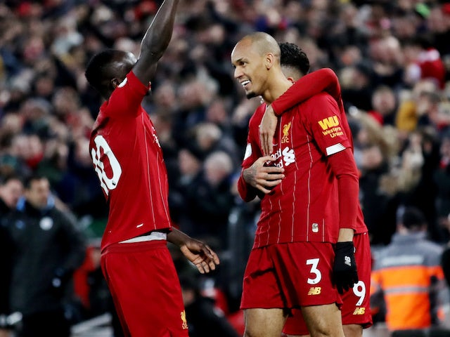 Fabinho celebrates opening the scoring for Liverpool on November 10, 2019
