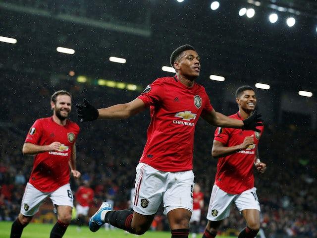 Manchester United's Anthony Martial celebrates scoring their second goal on November 7, 2019