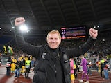 Celtic manager Neil Lennon celebrates at the end of the match against Lazio on November 7, 2019