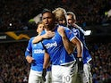 Rangers' Alfredo Morelos celebrates scoring their first goal on November 7, 2019