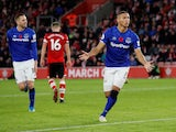 Everton's Richarlison celebrates scoring their second goal against Southampton on November 9, 2019
