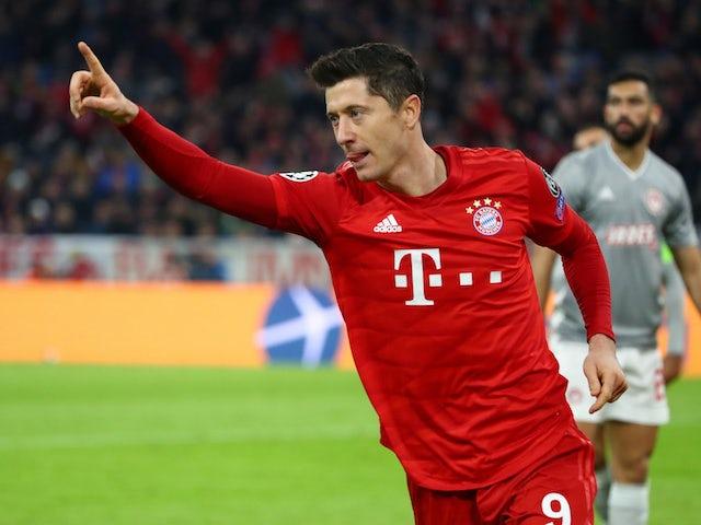 Bayern Munich's Robert Lewandowski celebrates scoring their first goal on November 6, 2019
