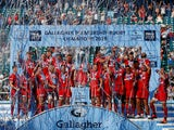 Saracens celebrate winning the 2018-19 Rugby Premiership title