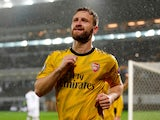 Arsenal's Shkodran Mustafi celebrates scoring their first goal against Vitoria on November 6, 2019