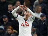 Tottenham Hotspur's Son Heung-min celebrates scoring their first goal on November 9, 2019