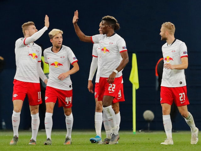 RB Leipzig players celebrate their second goal scored by Marcel Sabitzer on November 5, 2019