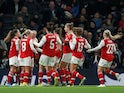 Arsenal's Kim Little celebrates scoring their first goal with teammates on November 17, 2019