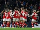 Arsenal's Kim Little celebrates scoring their first goal with teammates on November 17, 2019