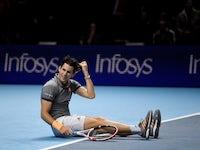 Austria's Dominic Thiem celebrates after winning his group stage match against Serbia's Novak Djokovic on November 12, 2019