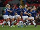 Everton's Lucy Graham celebrates scoring their first goal with team mates on November 17, 2019
