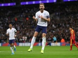 Harry Kane celebrates scoring for England on November 14, 2019