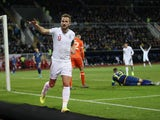 England's Harry Kane celebrates scoring their second goal on November 17, 2019