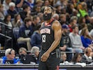Houston Rockets guard James Harden (13) looks on during the second half against the Minnesota Timberwolves at Target Center on November 17, 2019