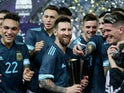 Lionel Messi celebrates with Argentina teammates on November 15, 2019