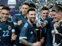 Lionel Messi celebrates with Argentina teammates on November 15, 2019