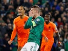 Northern Ireland's Steven Davis reacts after missing a penalty on November 16, 2019