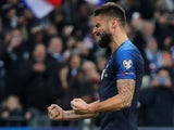 France's Olivier Giroud celebrates scoring their second goal on November 14, 2019