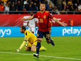 Spain's Santi Cazorla celebrates scoring their second goal against Malta on November 15, 2019