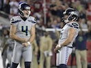 Seattle Seahawks kicker Jason Myers (5) celebrates with punter Michael Dickson (4) after kicking a 46-yard field goal in the fourth quarter against the San Francisco 49ers at Levi's Stadium on November 12, 2019